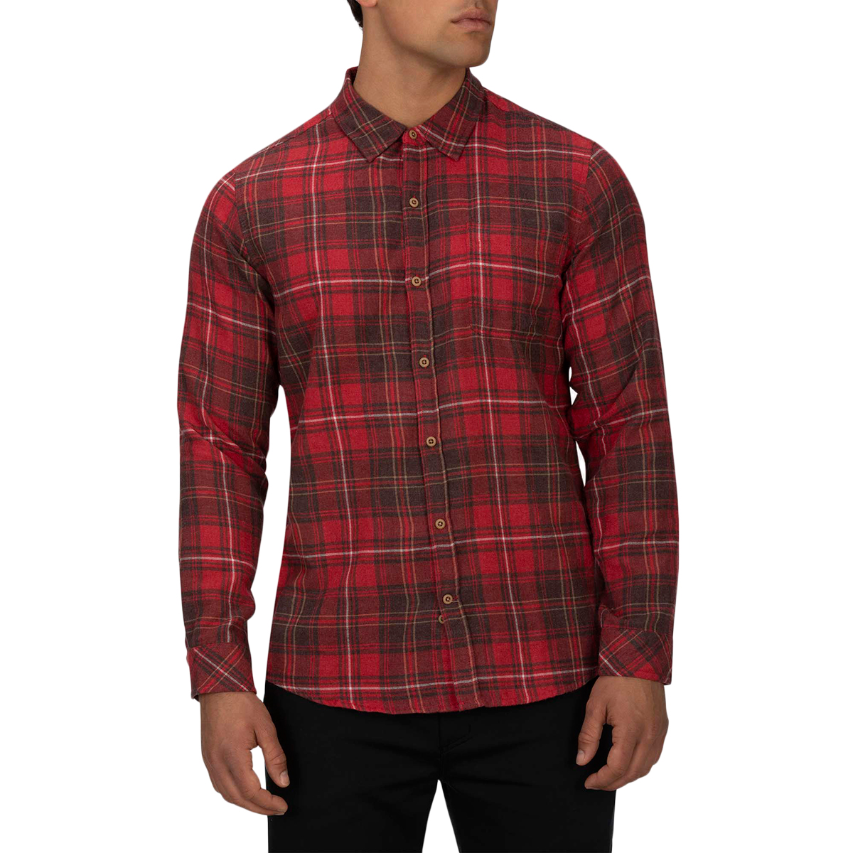 Hurley Men's Vedder Washed Long-Sleeve Shirt - Red, XL
