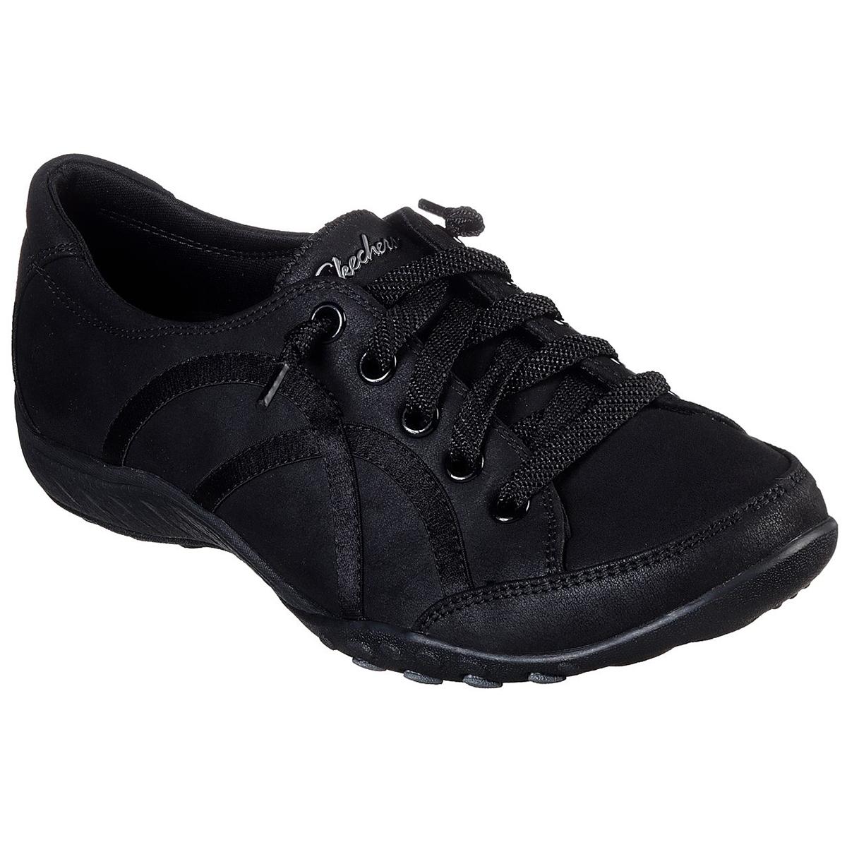 Skechers Women's Relaxed Fit Breathe-Easy Well Read Sneakers - Black, 7