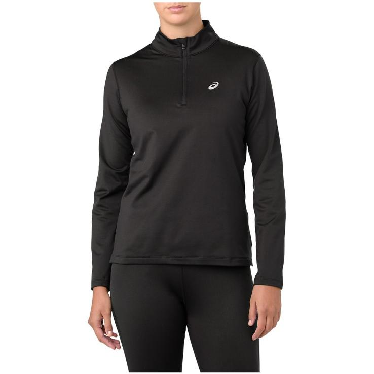 Asics Women's Silver Winter Half Zip Top - Black, XL