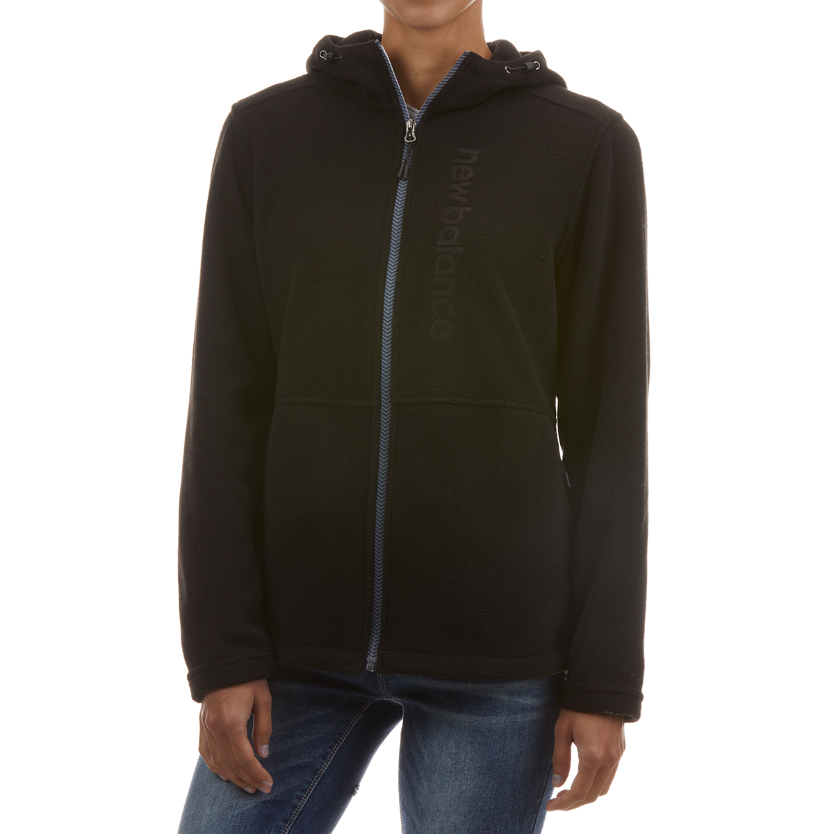 New Balance Women's Full Zip Hooded Fleece With Embossed Logo - Black, XL