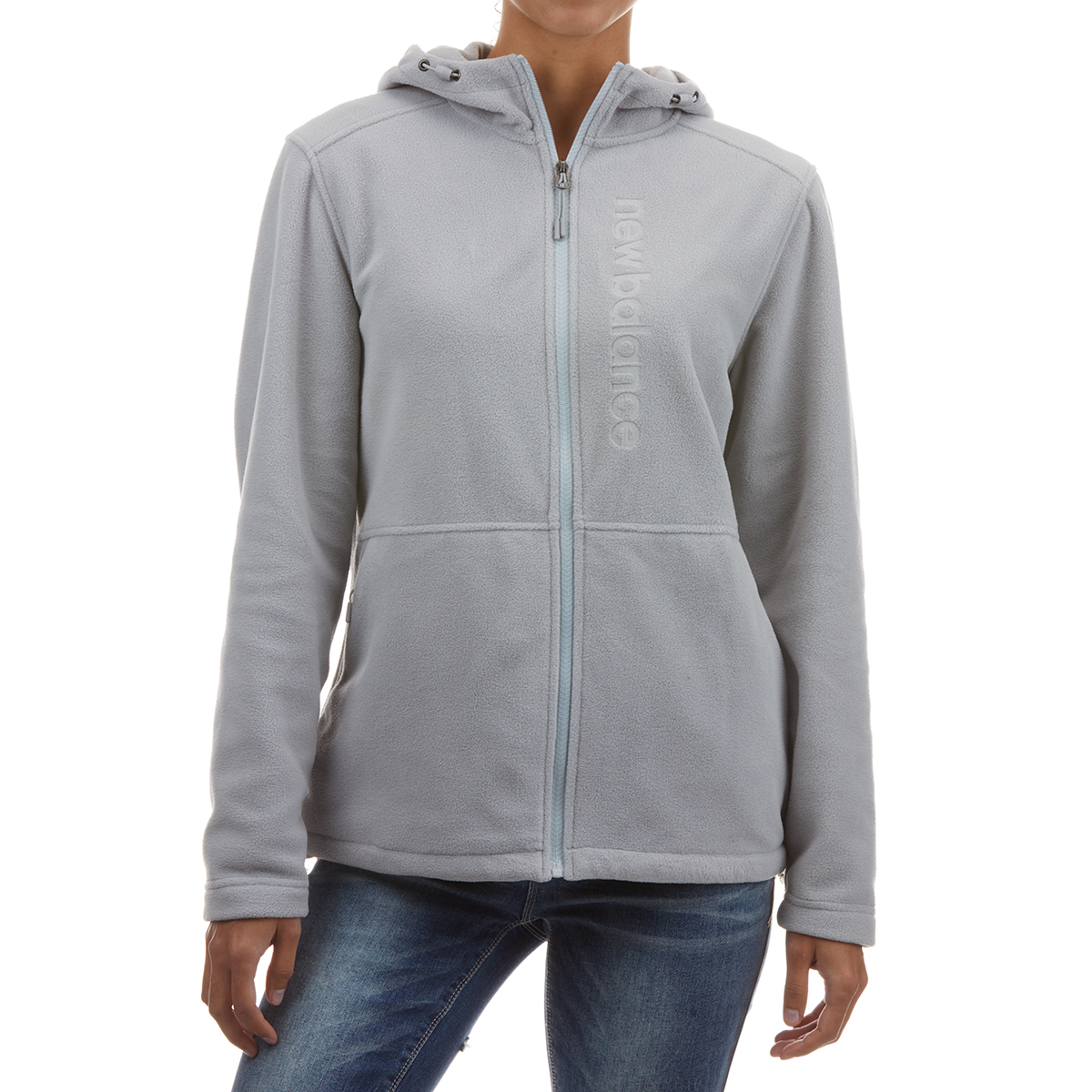 New Balance Women's Full Zip Hooded Fleece With Embossed Logo - Black, S