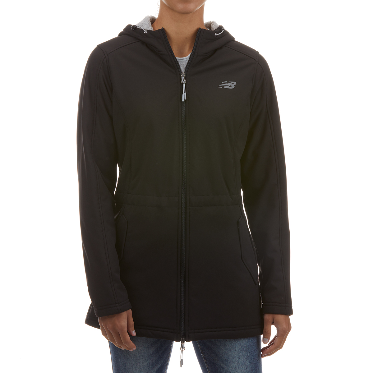 New Balance Women's Hooded Soft Shell Anorak Jacket With Sherpa Lining - Black, M