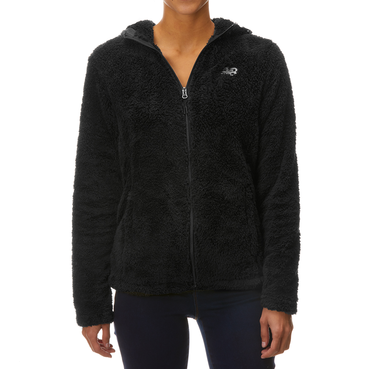 New Balance Women's Full Zip Sherpa Hooded Jacket - Black, L