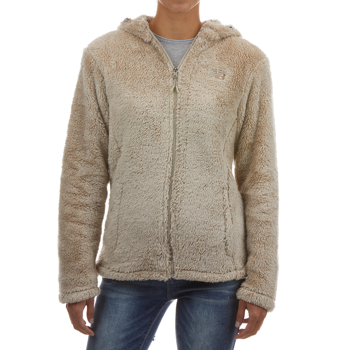 New Balance Women's Full Zip Sherpa Jacket With Hood - White, S