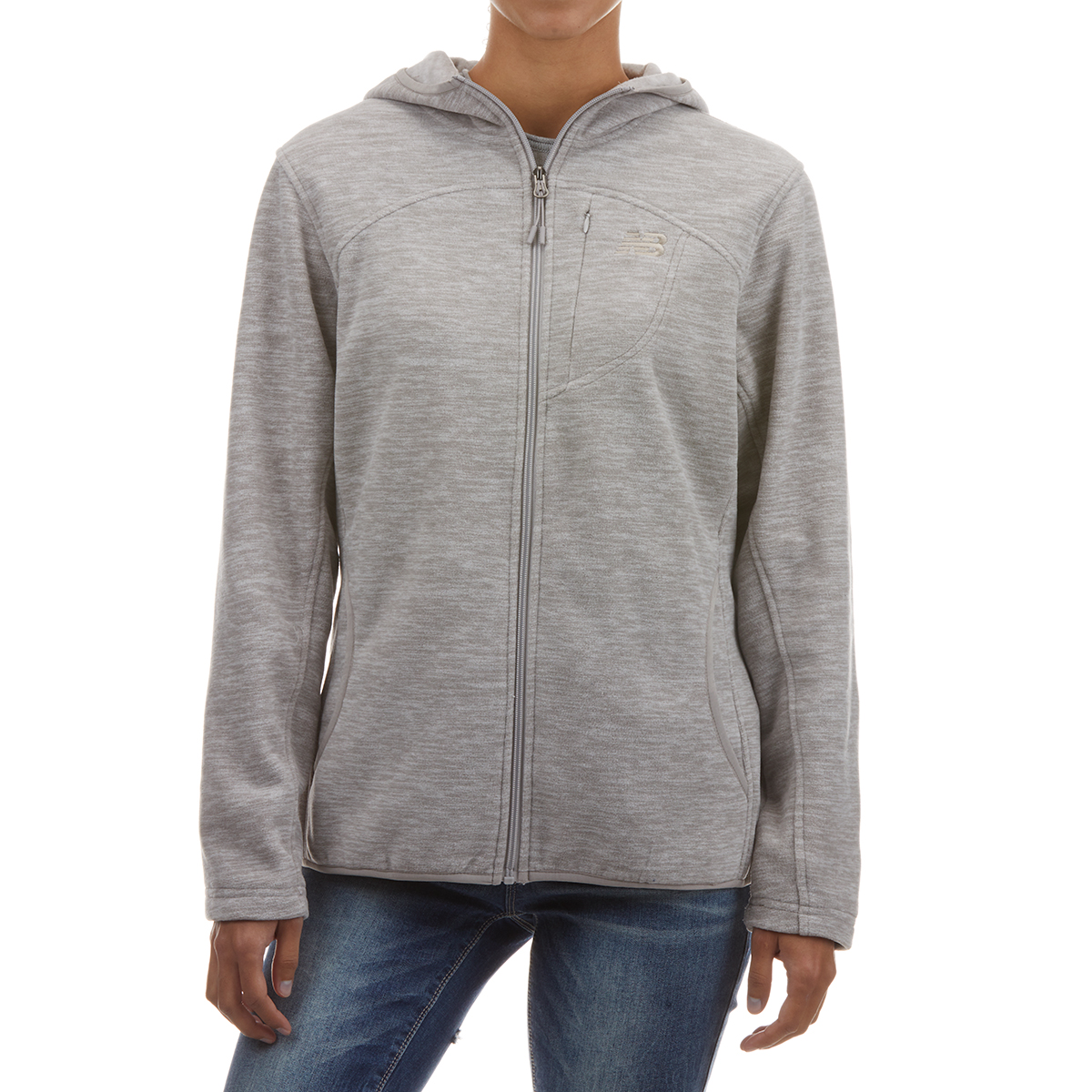 New Balance Women's Full Zip Polar Fleece Spacedye Hoodie - White, M