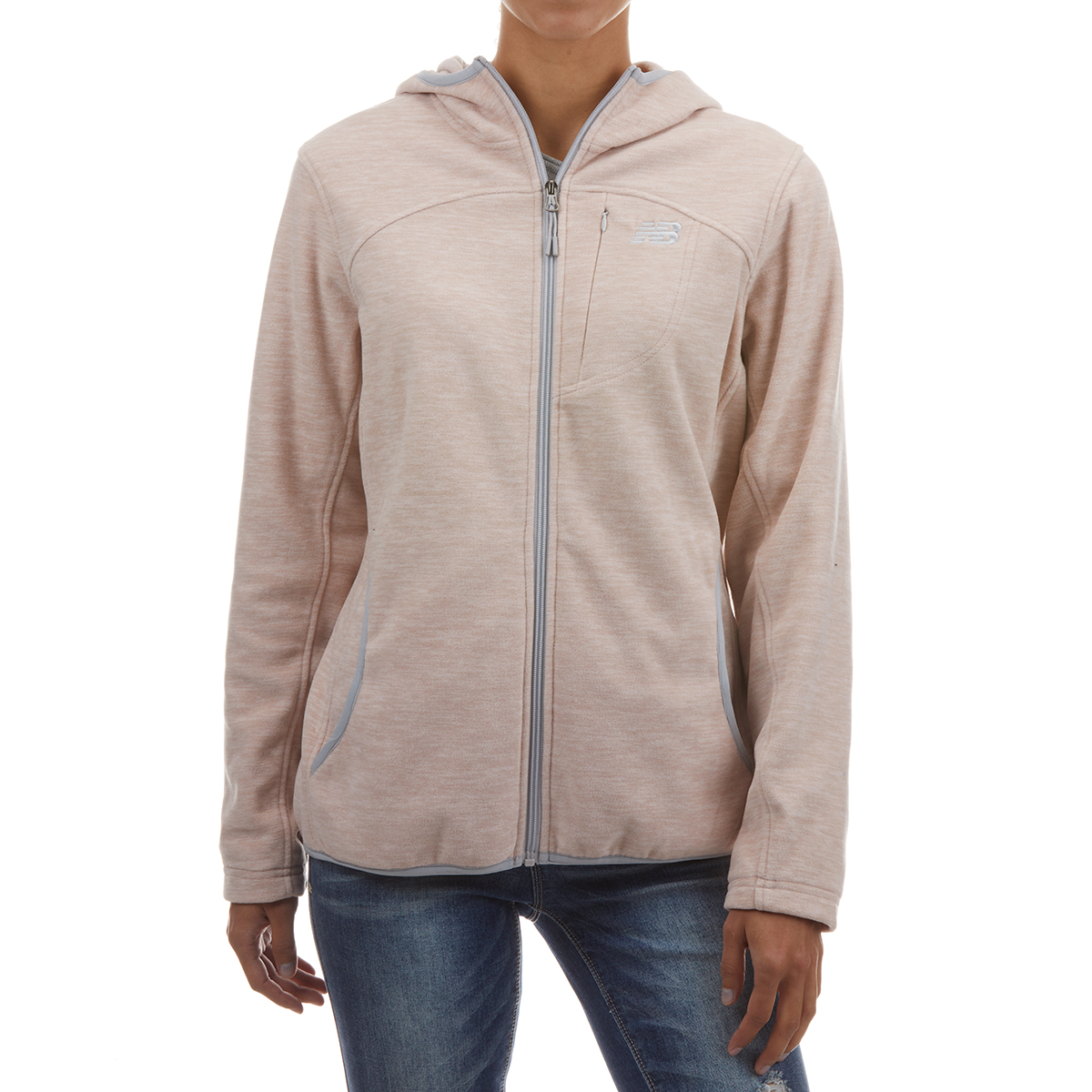 New Balance Women's Full Zip Polar Fleece Spacedye Hoodie - Red, L