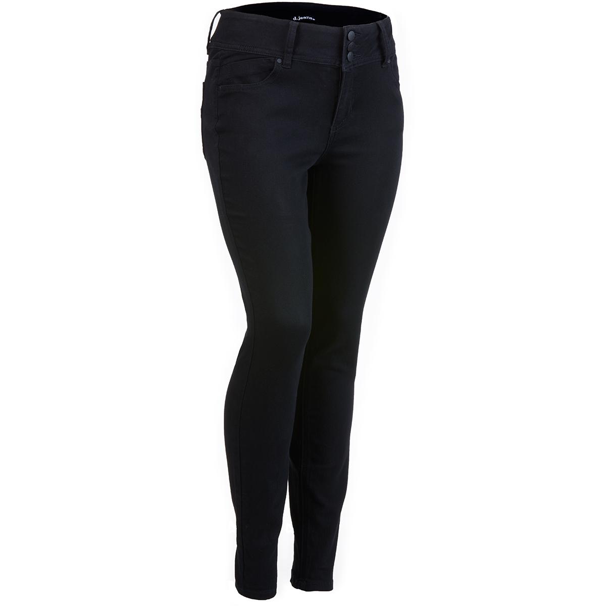 D Jeans Women's High Waist Triple Button Skinny Jeans - Black, 10