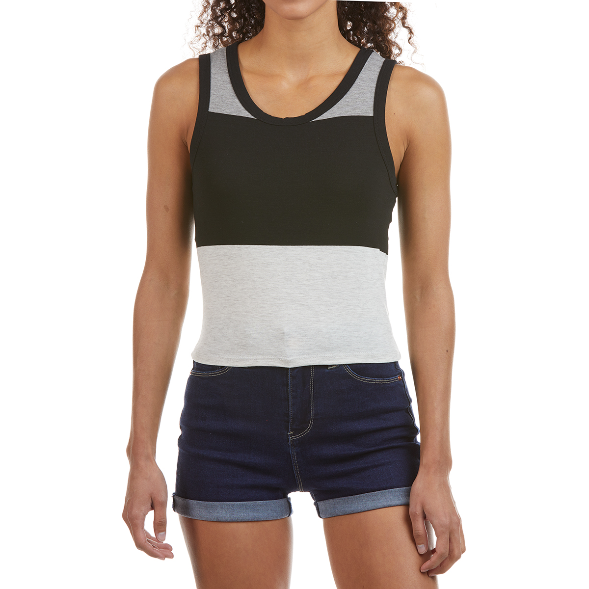Poof Juniors' Sleeveless Colorblock Tank - Black, L