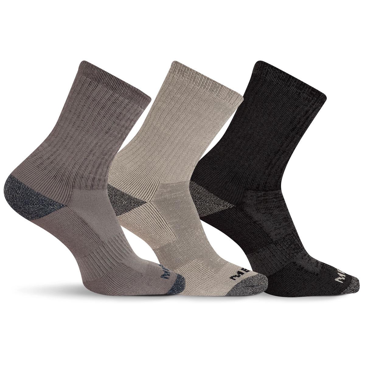 Merrell Men's Cushioned Crew-Length Performance Hiker Socks, 3-Pack - Black, L/XL