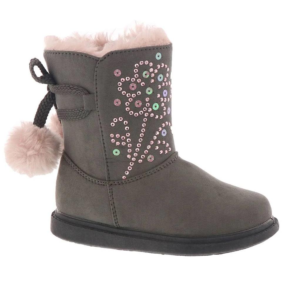 Rachel Shoes Toddler Girls' Gigi Pompom Booties - Black, 7