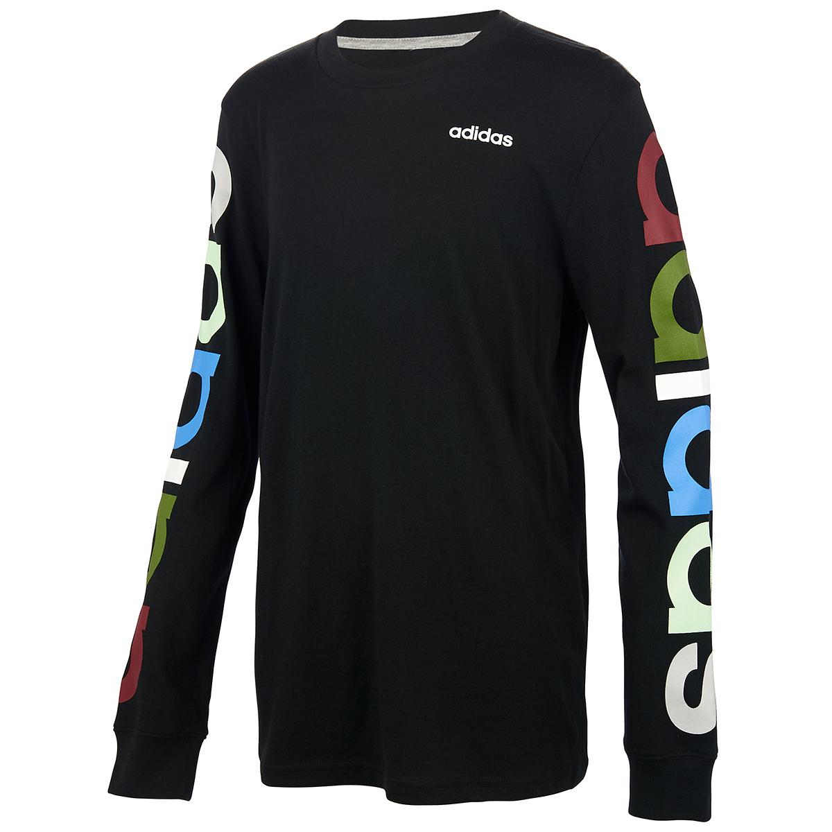 Adidas Boys' Linear Long-Sleeve Tee - Black, S