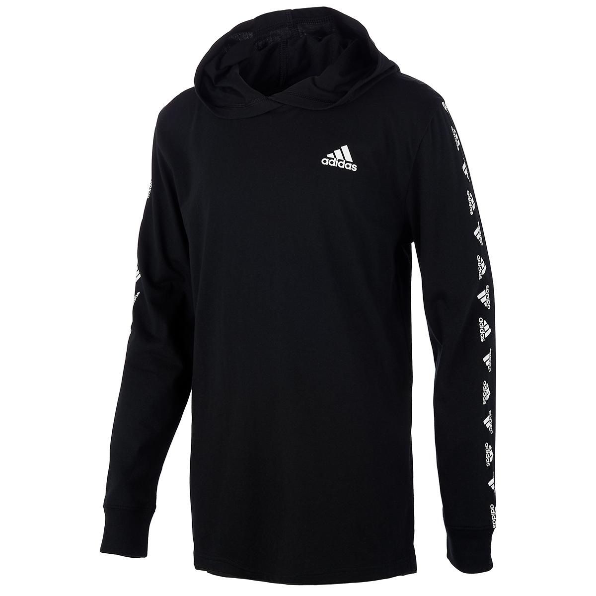 Adidas Boys' Brandmark Hooded Long-Sleeve Tee - Black, M