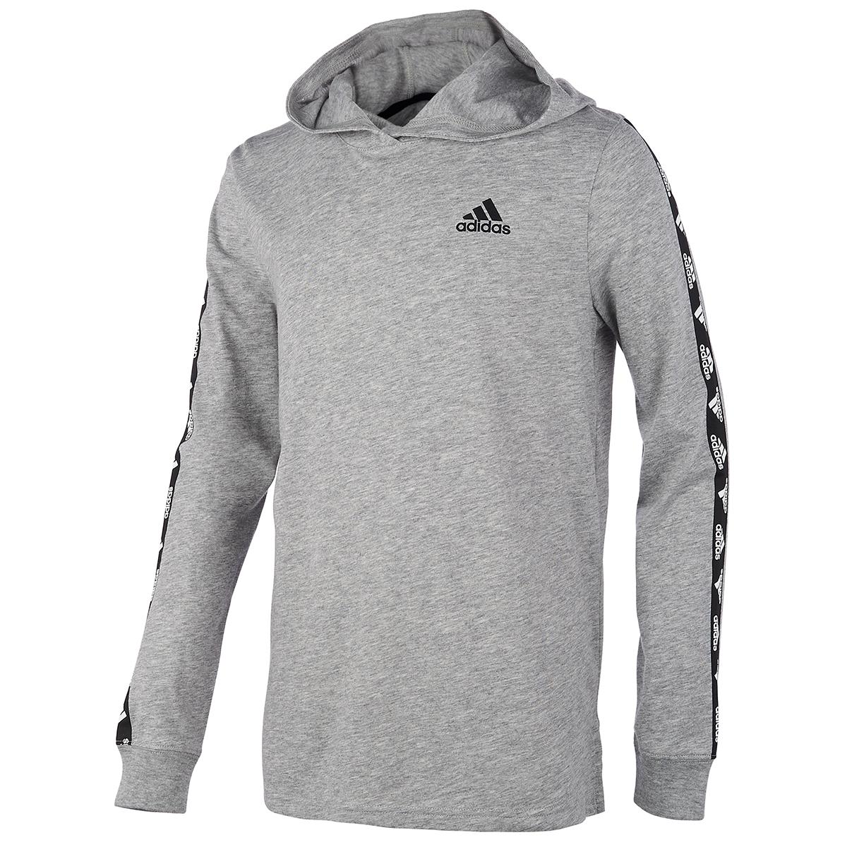 Adidas Boys' Badge Of Sport Hooded Long-Sleeve Tee - Black, XL