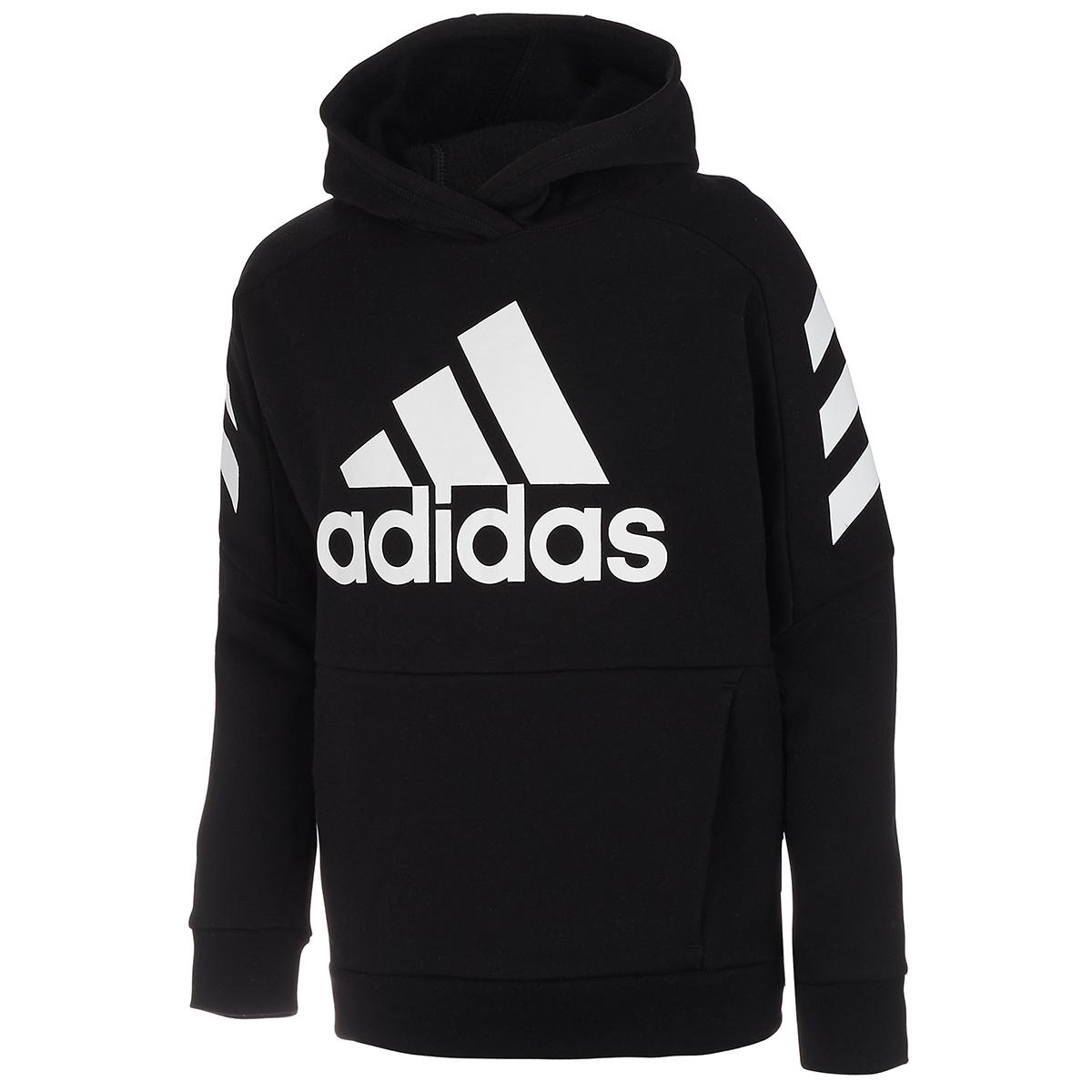 Adidas Boys' 8-20 Block Fleece Pullover Hoodie - Black, M