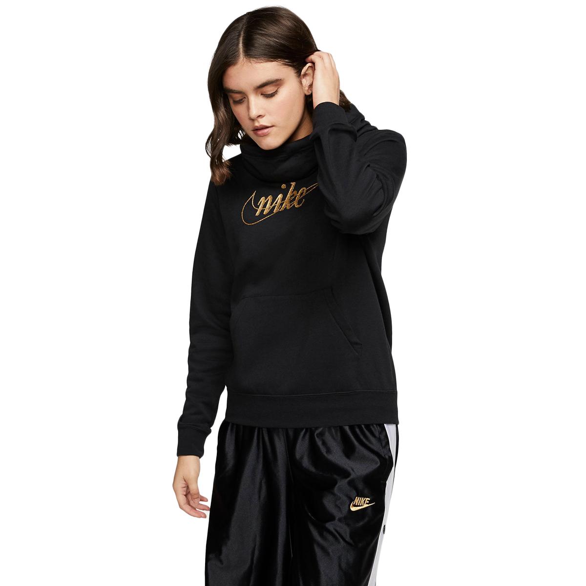 Nike Women's Glitter Logo Pullover Hoodie - Black, M