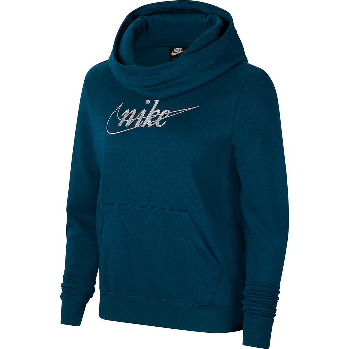 Nike Women's Glitter Logo Pullover Hoodie - Blue, S