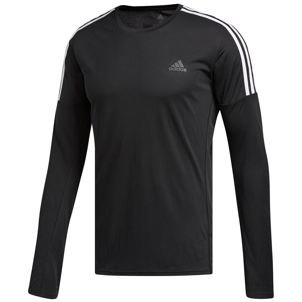 Adidas Men's 3-Stripes Long-Sleeve Running Tee - Black, XL