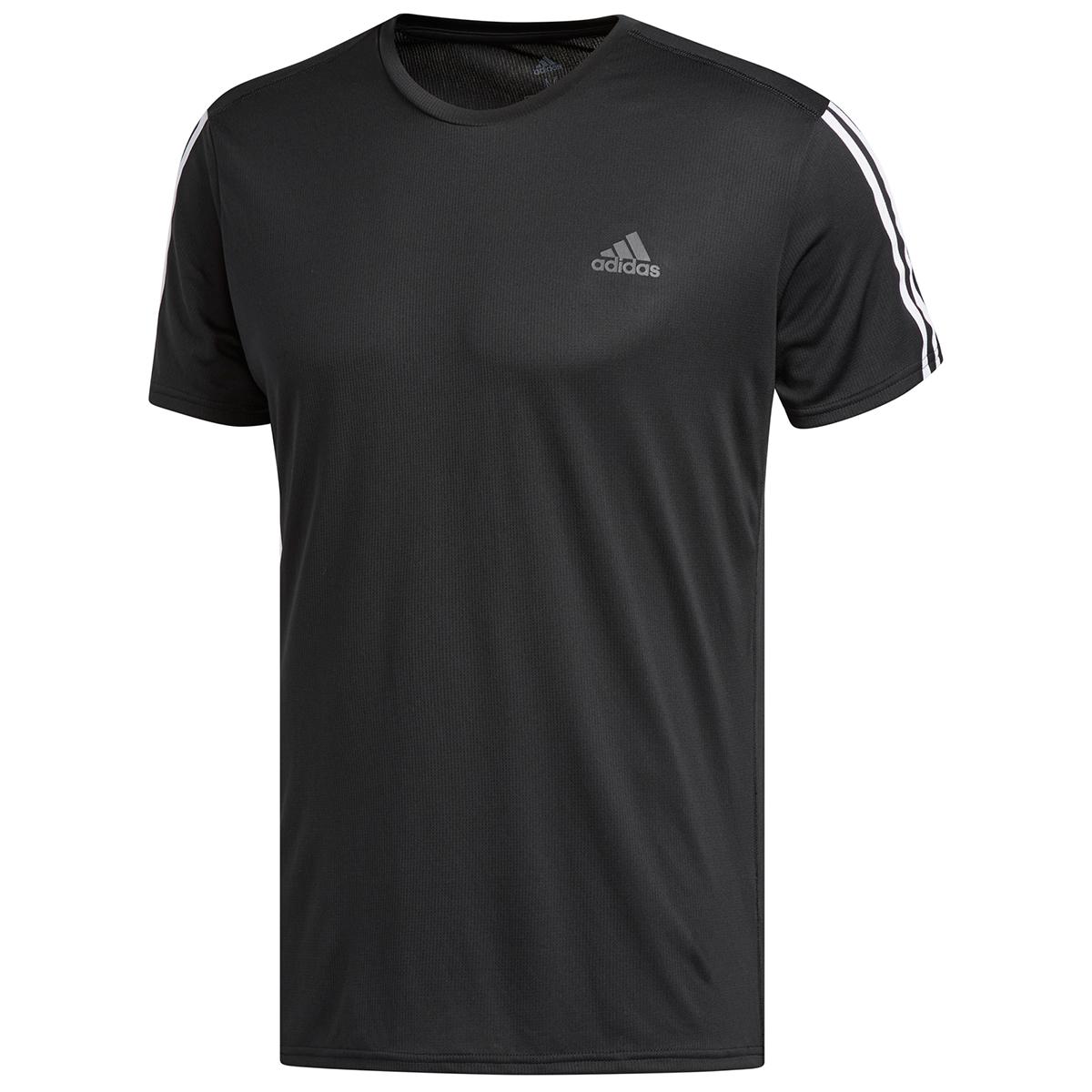 Adidas Men's 3-Stripe Running Tee - Black, M