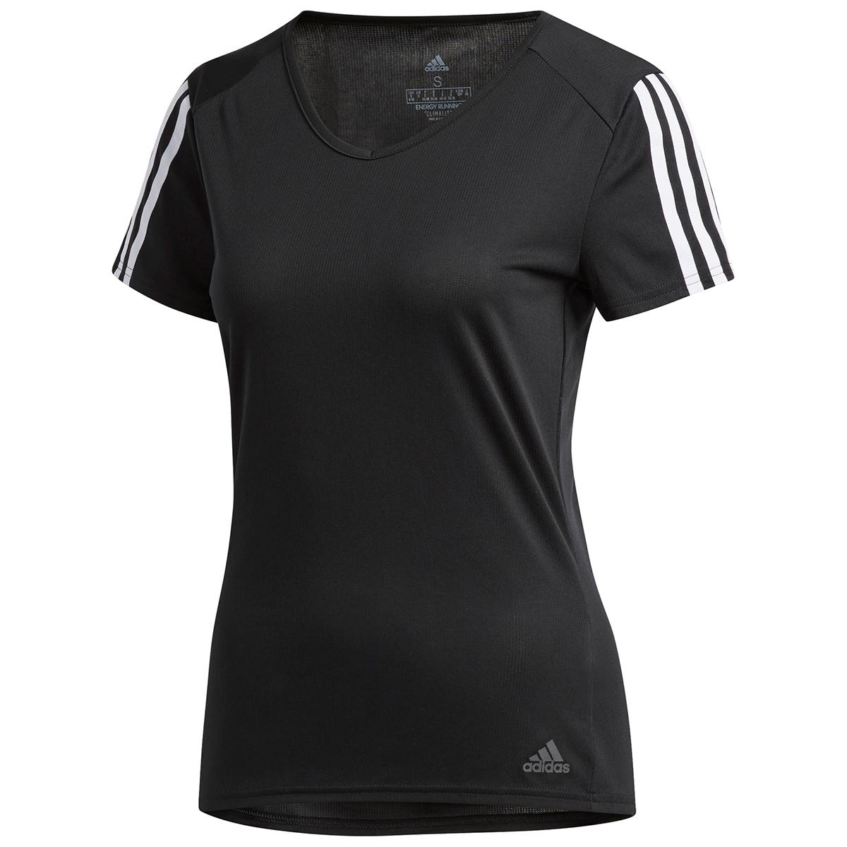 Adidas Women's Running 3-Stripe Short-Sleeve Tee - Black, S