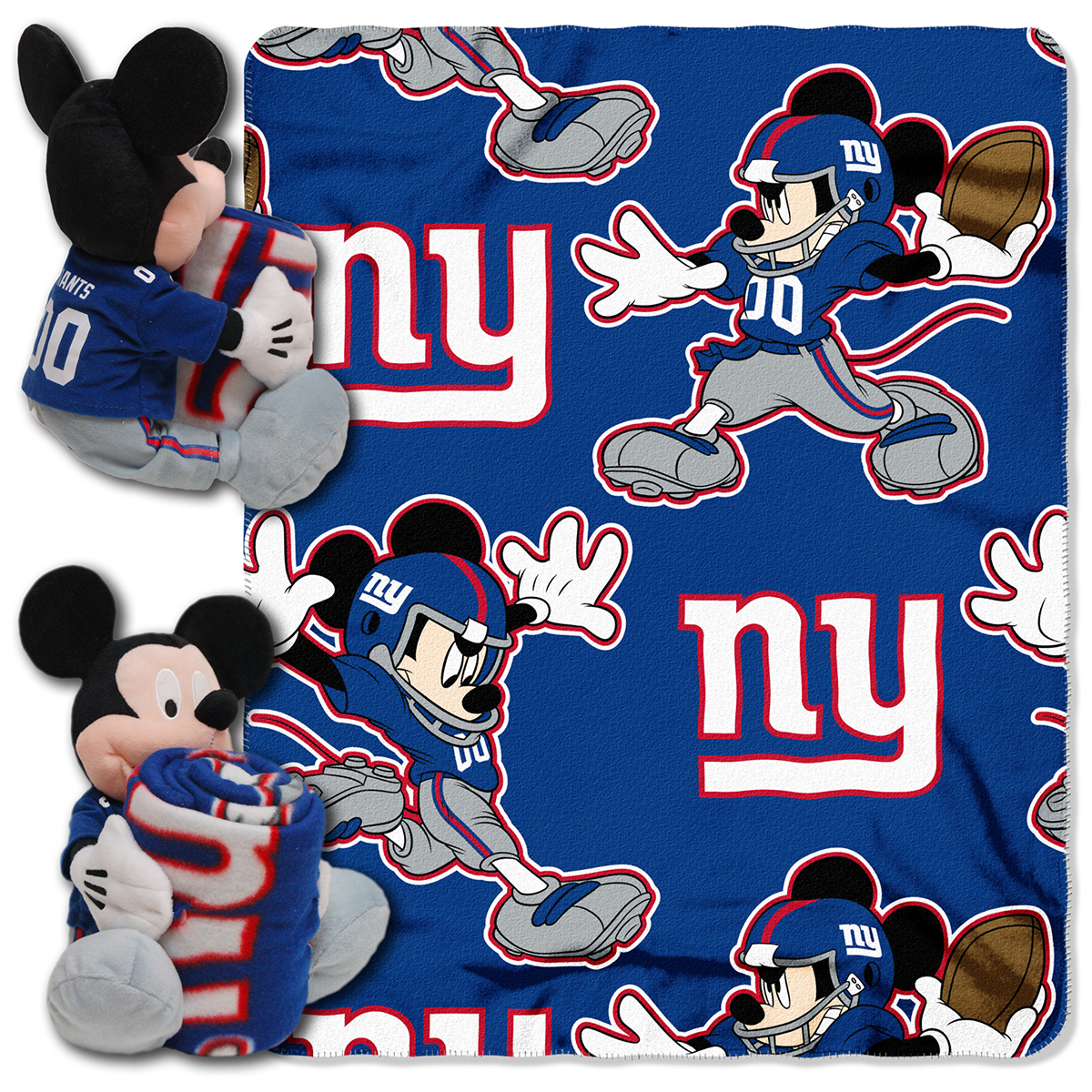 New York Giants Disney Nfl Mickey Mouse Hugger With Throw Blanket