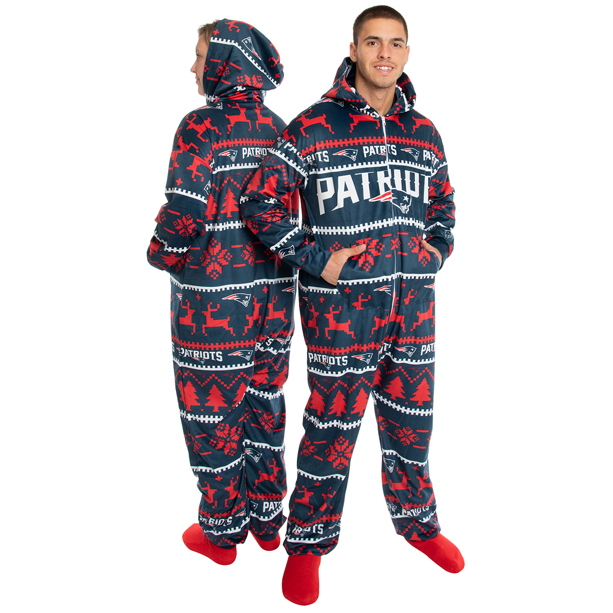 New England Patriots Hooded Wordmark Onesie - Blue, S