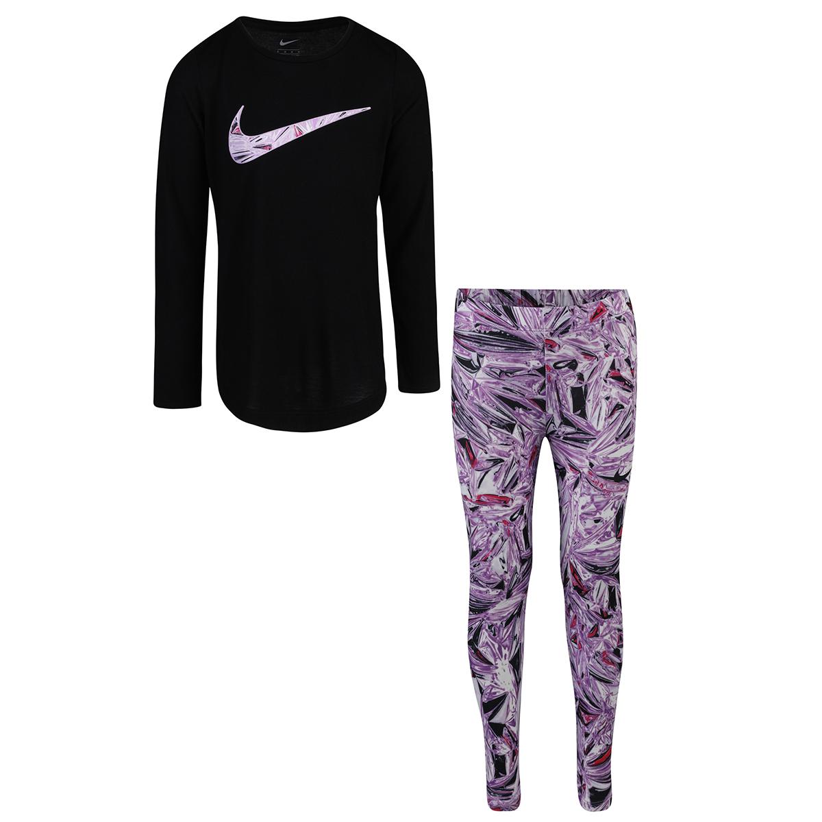 Nike Toddler Girls' Long Sleeve Tunic And Mylar Swirl Legging Set - Purple, 2T