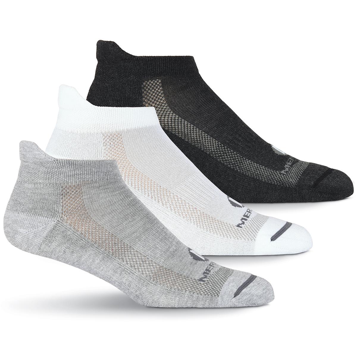 Merrell Men's Low Cut Tab Socks, 3 Pack - Black, L/XL