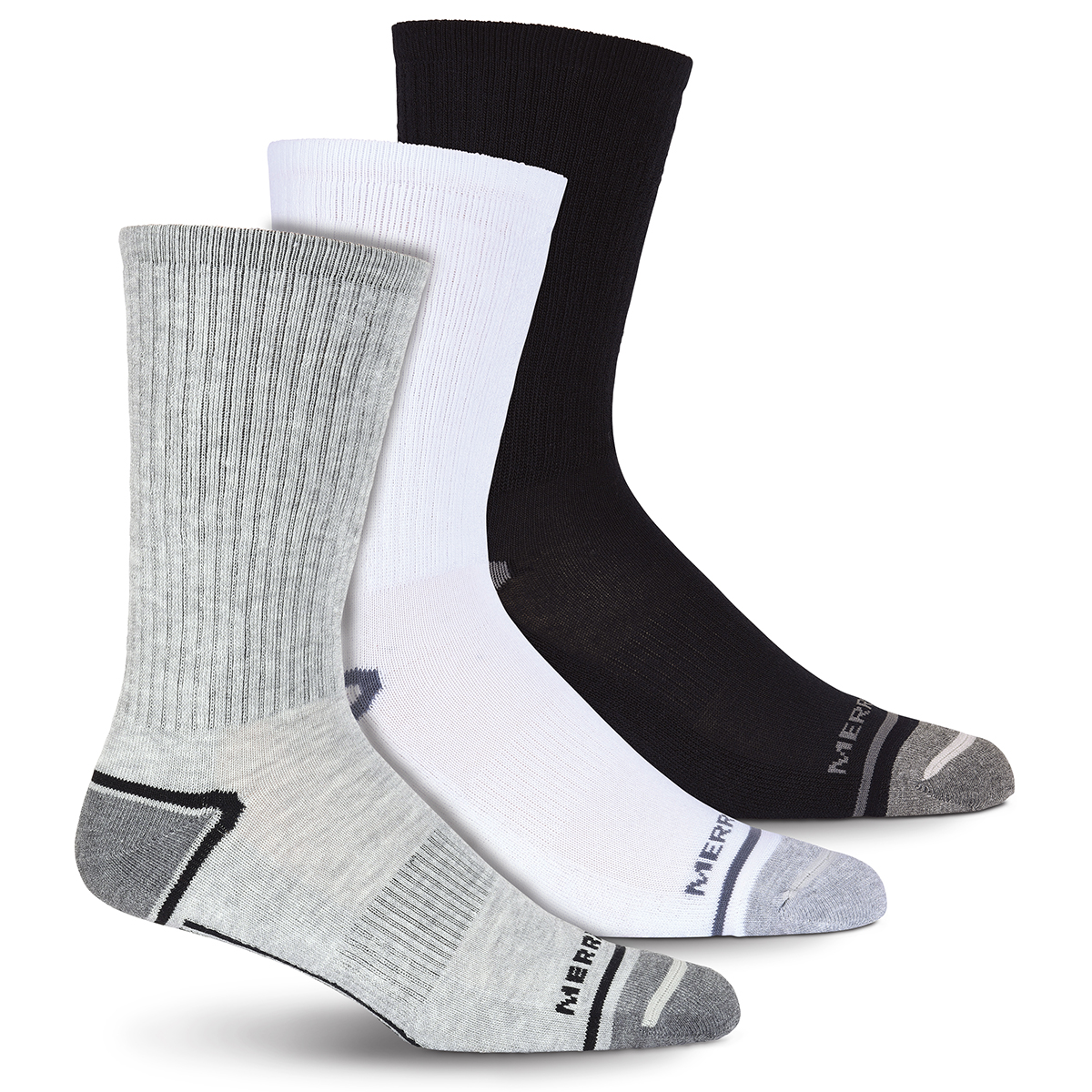 Merrell Men's Cushioned Elite Hiker Crew Socks, 3-Pack - Black, M/L