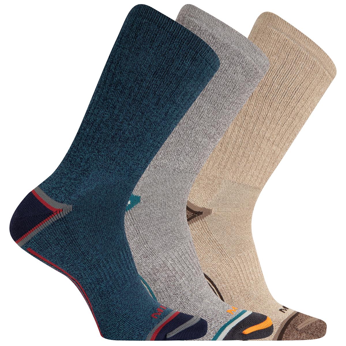 Merrell Men's Cushioned Elite Hiker Crew Socks, 3-Pack - Blue, M/L