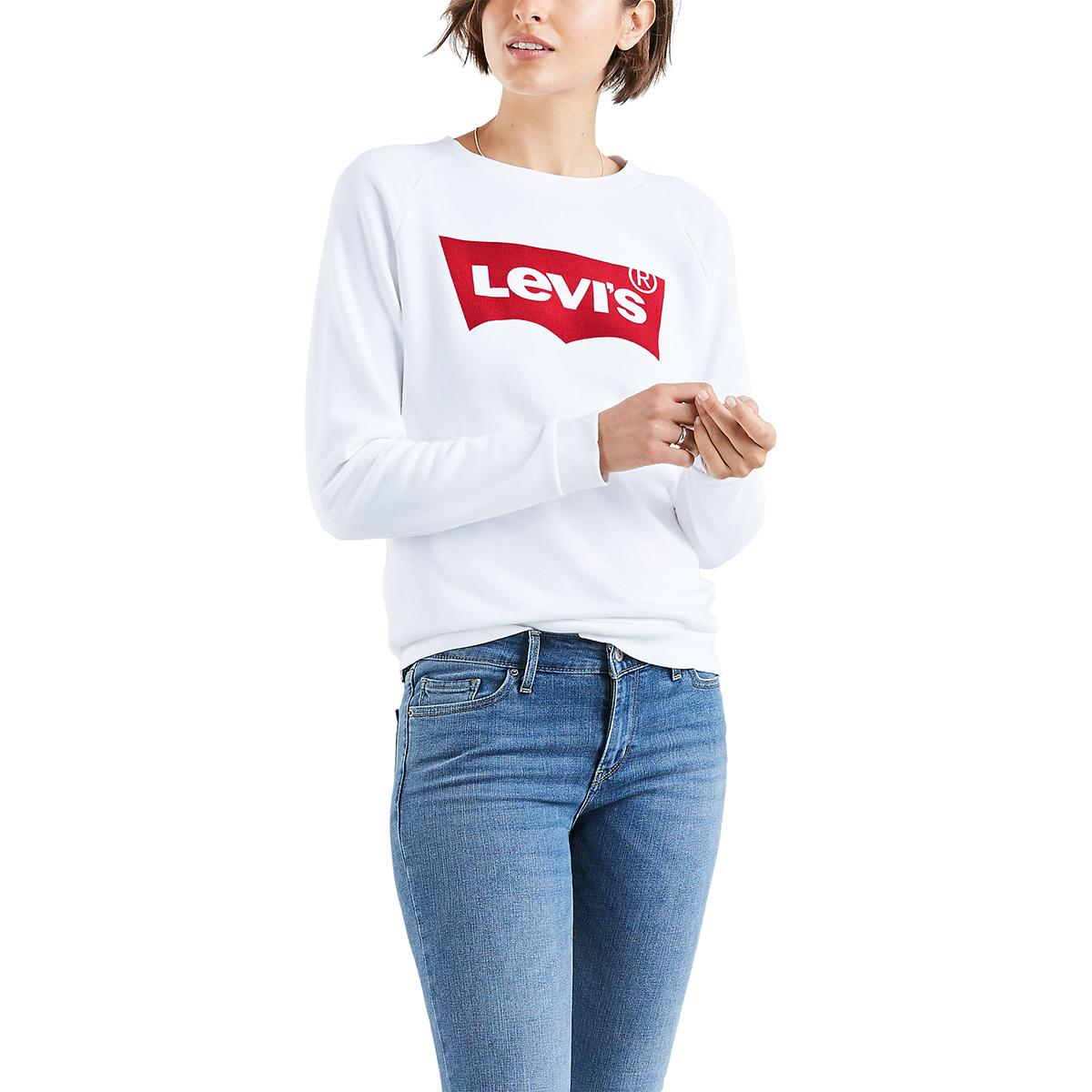 Levi's Women's Long-Sleeve Graphic Crewneck Fleece - White, S