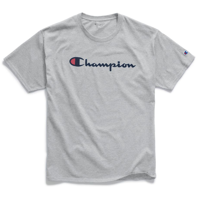 Champion Men's Classic Script Logo Graphic Short-Sleeve Tee - Black, S