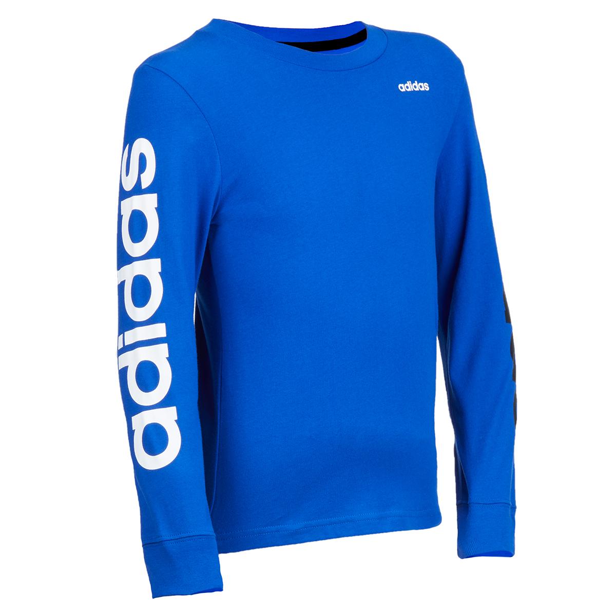 Adidas Little Boy's Long-Sleeve Linear Cotton Tee - Blue, 4