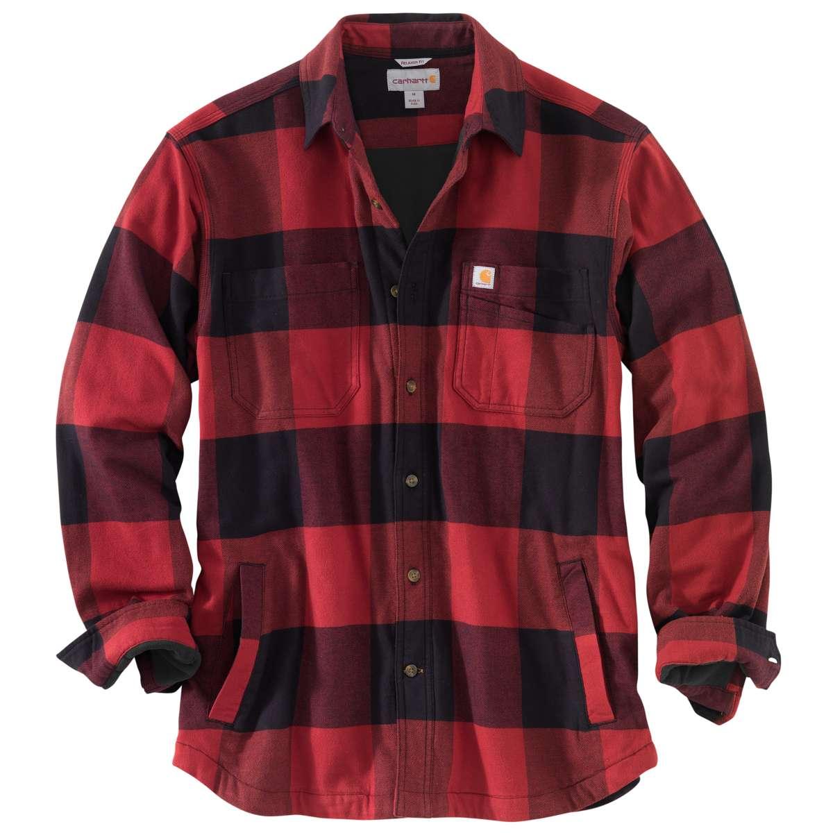 Carhartt Men's Rugged Flex Hamilton Fleece-Lined Shirt Jacket, Extended Sizes - Red, 3XL