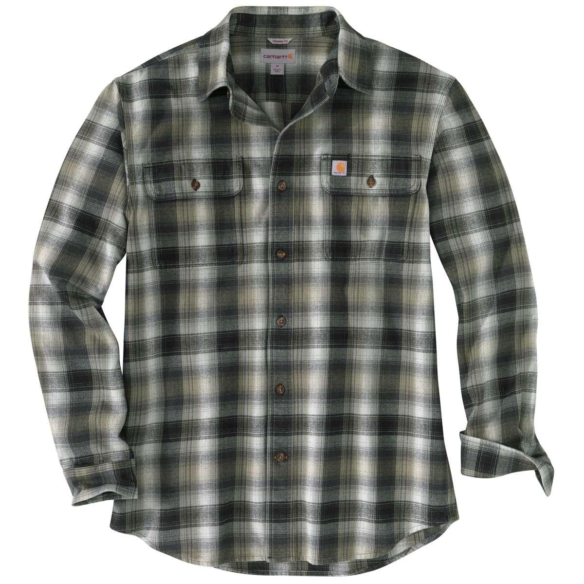 Carhartt Men's Hubbard Flannel Long-Sleeve Shirt, Extended Sizes - Black, 3XL