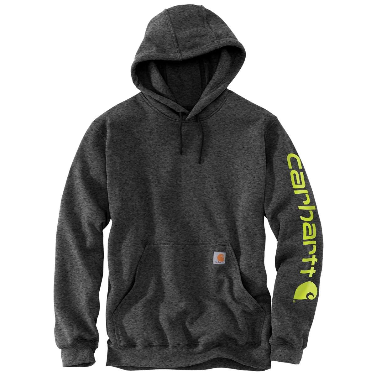 Carhartt Men's K288 Signature Sleeve Logo Hoodie, Extended Sizes - Black, 2XLT