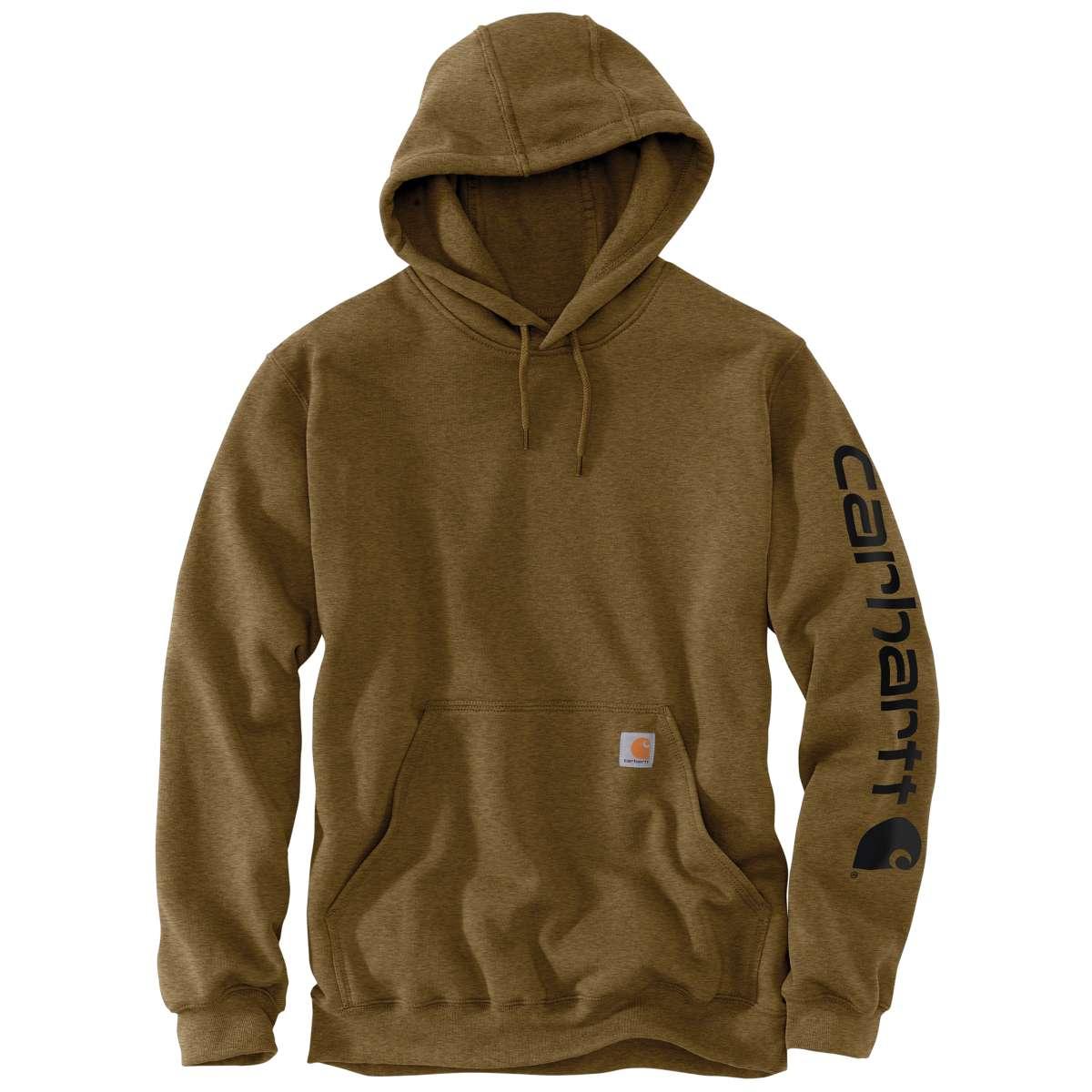 Carhartt Men's K288 Signature Sleeve Logo Hoodie, Extended Sizes - Brown, 2XLT