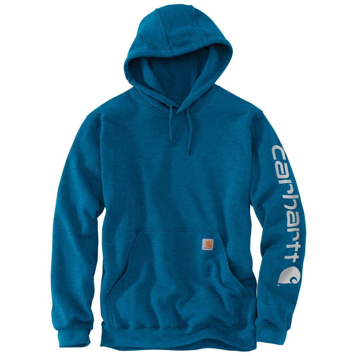 Carhartt Men's K288 Signature Sleeve Logo Hoodie, Extended Sizes - Blue, 4XL