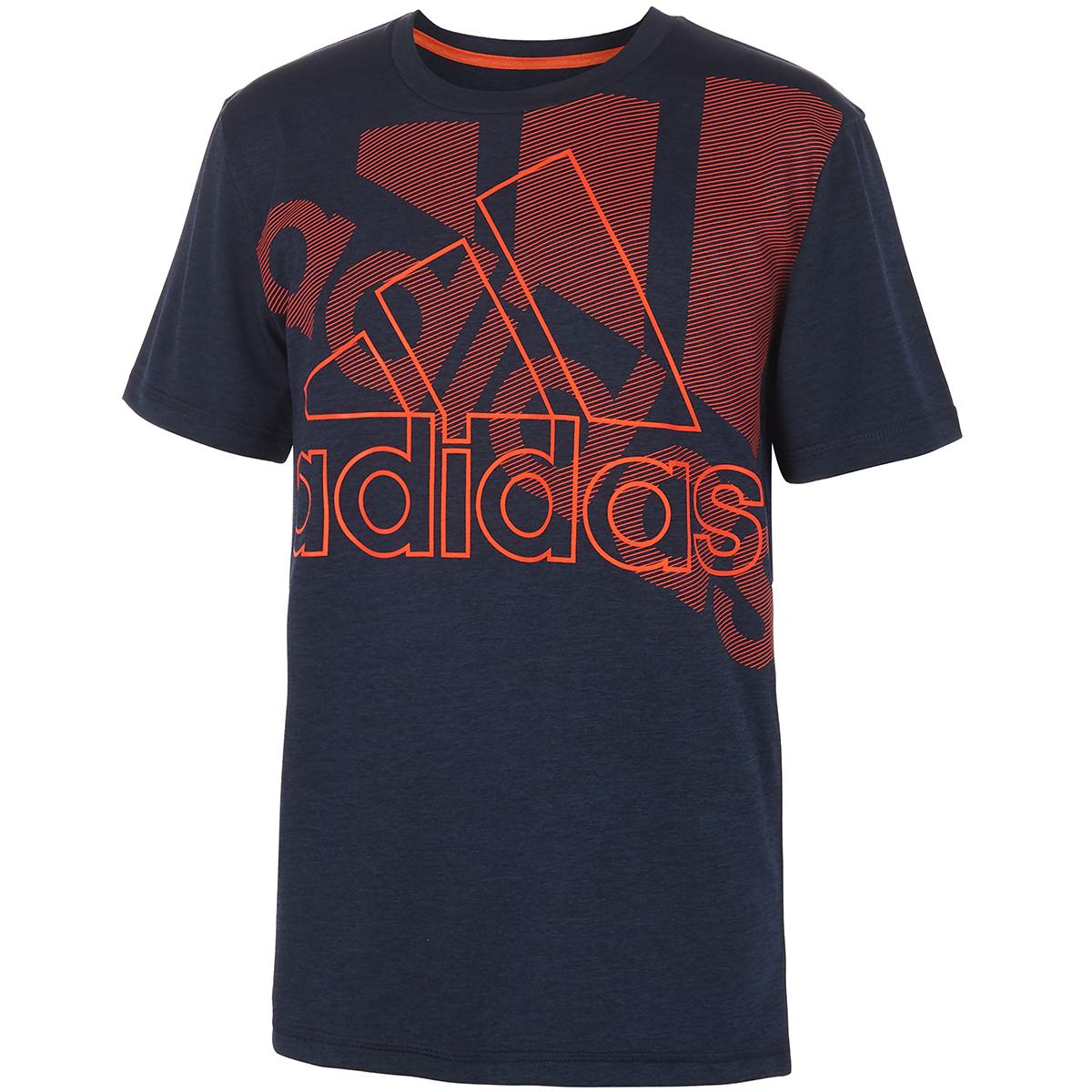 Adidas Boys' Statement Badge Of Sport Short-Sleeve Tee - Blue, XL