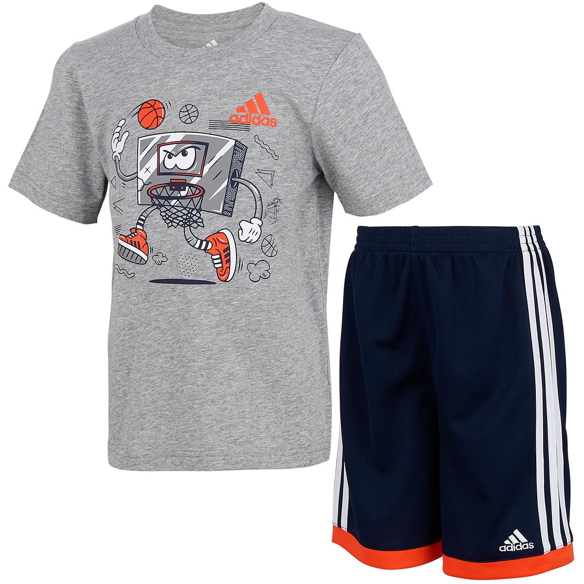 Adidas Little Boys' Graphic T-Shirt And Shorts Set - Black, 7