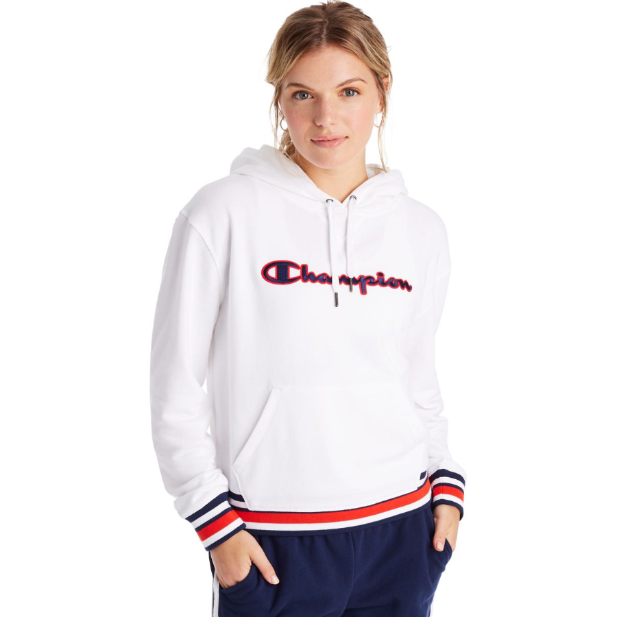 Champion Women's Campus French Terry Crew Top - White, S