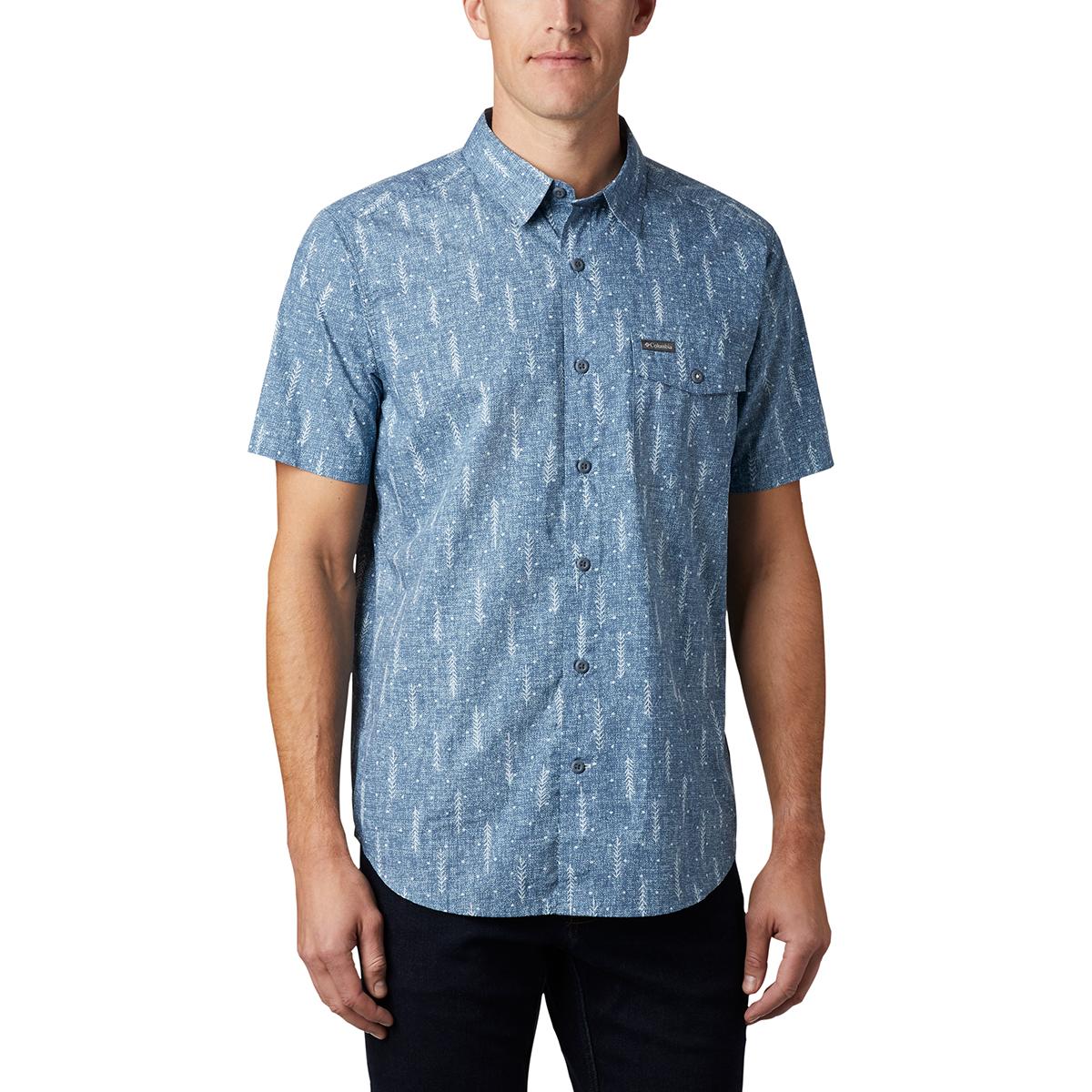 Columbia Men's Summer Chill Short-Sleeve Shirt - Blue, XL