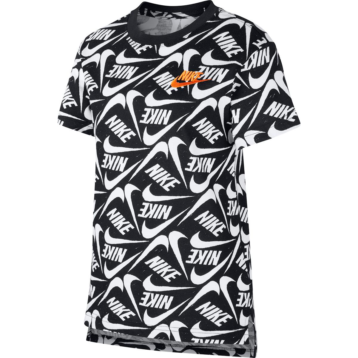 Nike Girls' Short-Sleeve Swoosh Logo Tee - Black, S
