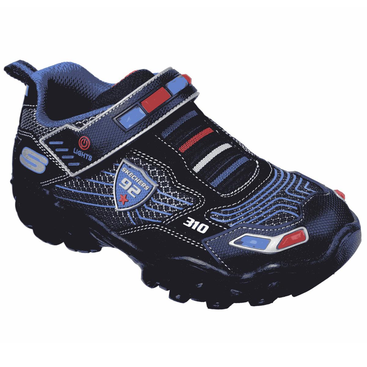 Skechers Boys' Hot Lights: Damager 3 Police Sneaker - Black, 13