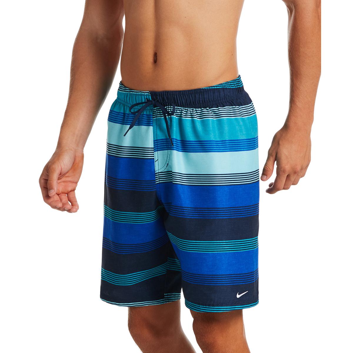 "Nike Men's Linen Stripe 9"" Volley Swim Shorts - Blue, XL"