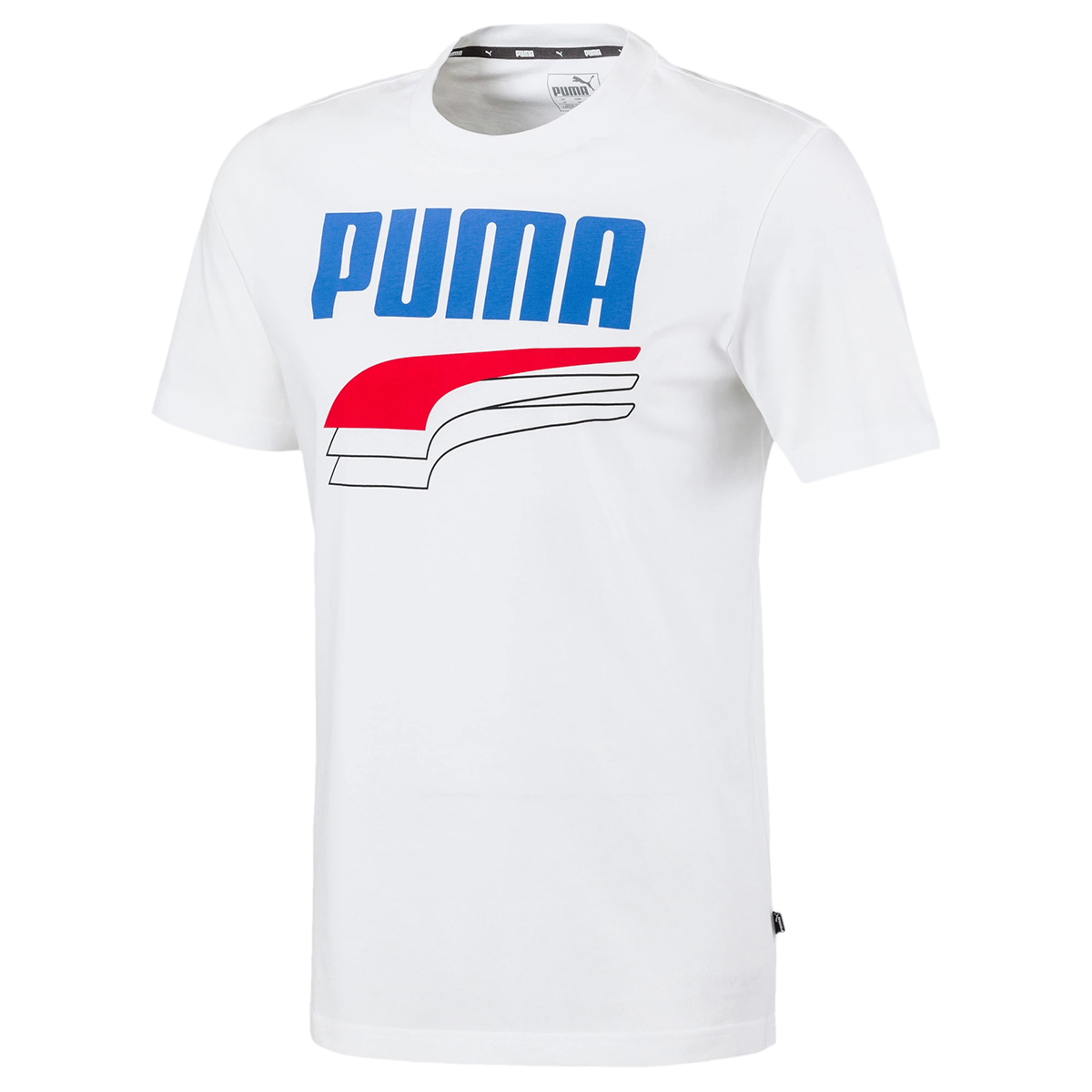 Puma Men's Rebele Bold Short-Sleeve Logo Tee - White, XL
