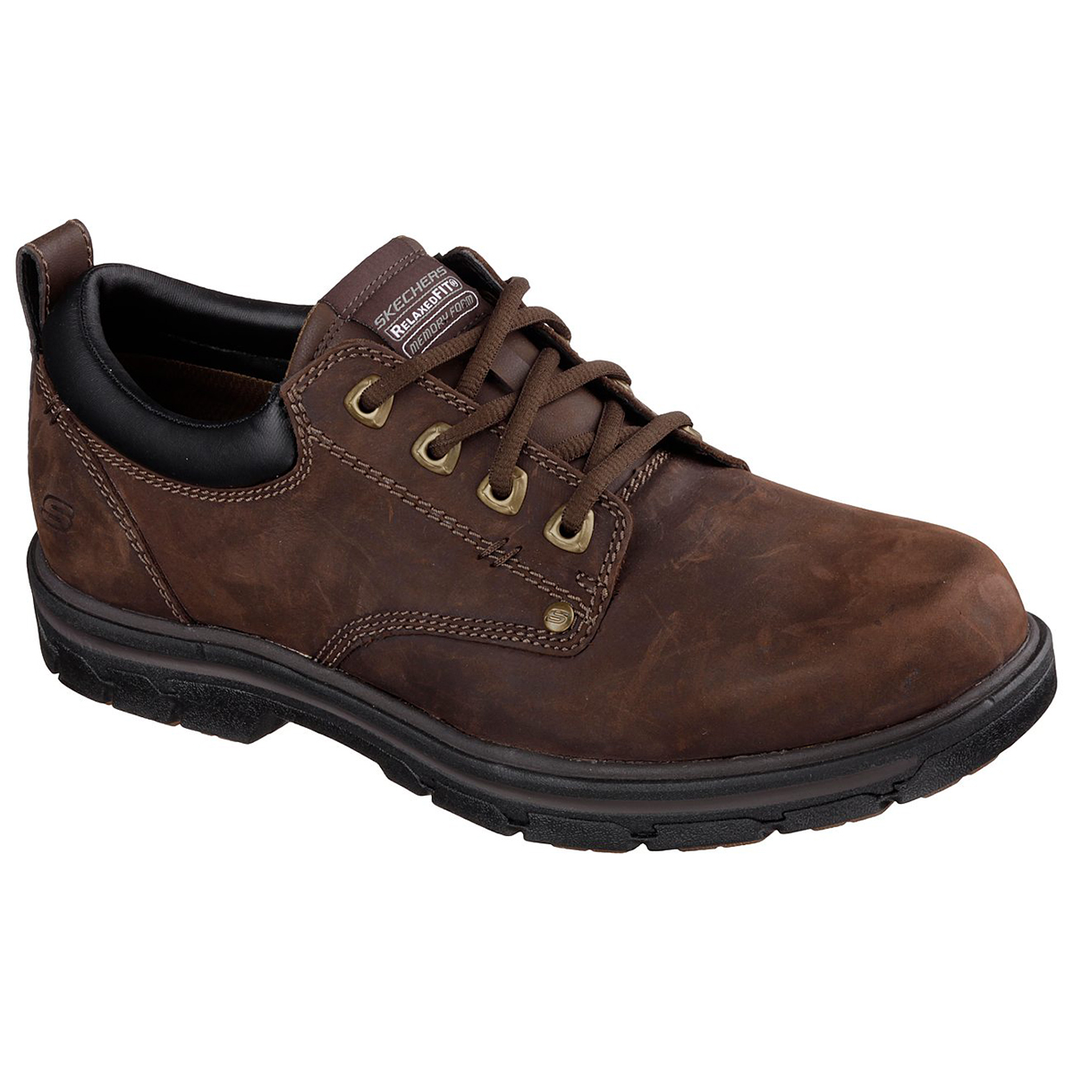 Skechers Men's Rilar Casual Lace-Up Shoes, Wide - Brown, 8