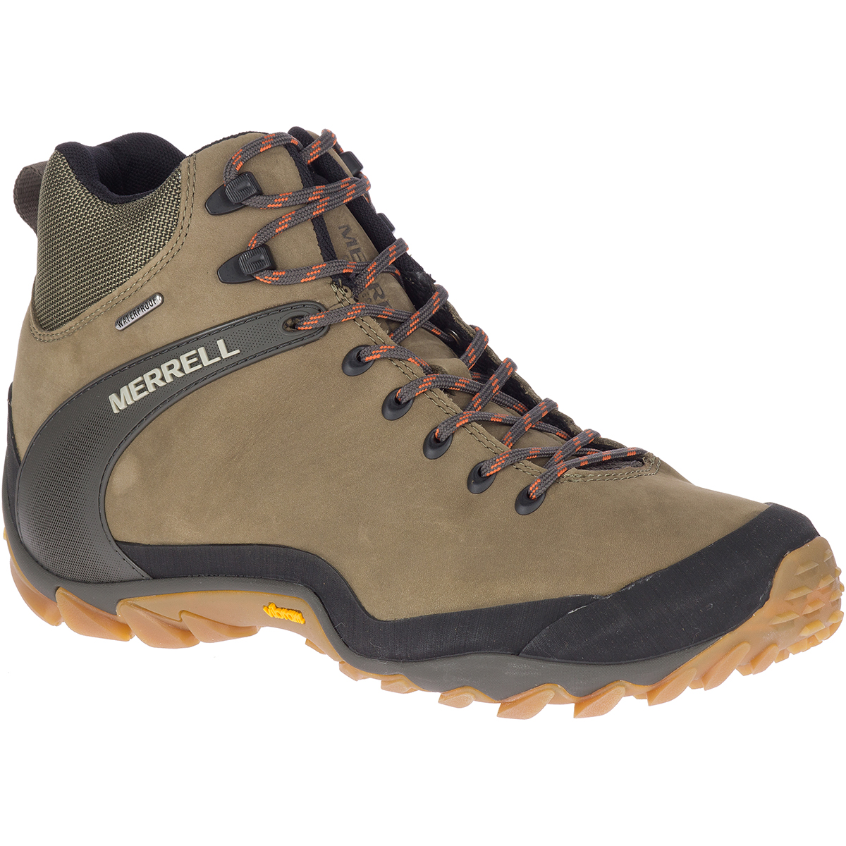 Merrell Men's Chameleon 8 Leather Mid Waterproof Hiking Shoes - Green, 11