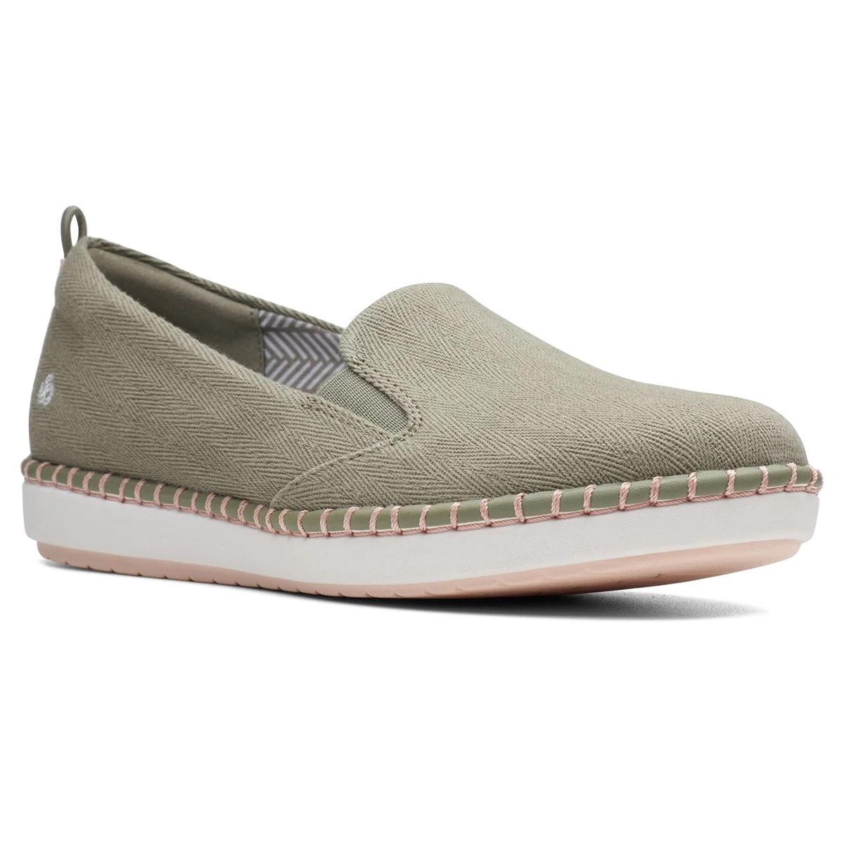 Clarks Women's Cloudstepper Step Glow Slip-On Shoes - Green, 6