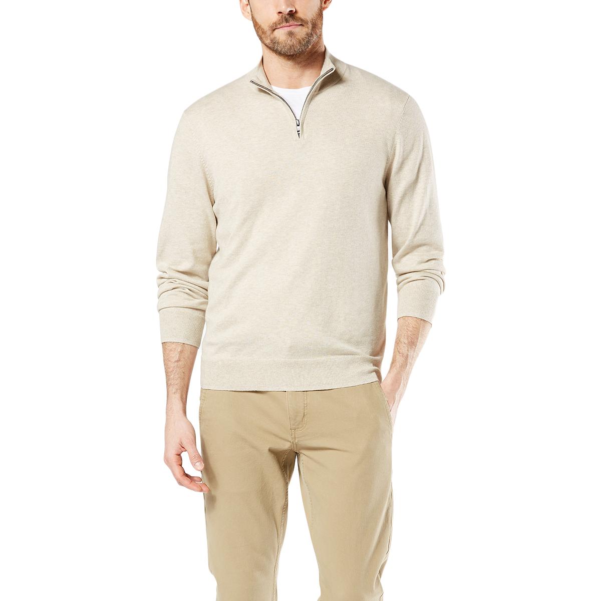 Dockers Men's 1/4-Zip Sweater - Brown, M