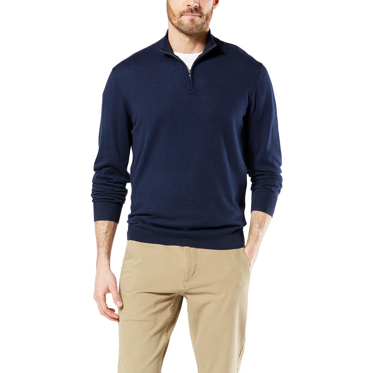 Dockers Men's 1/4-Zip Sweater - Blue, M